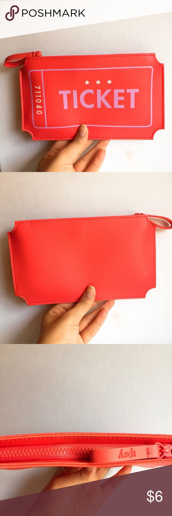 Ipsy Movie Ticket Makeup Bag Brand new Ipsy makeup bag in coral. Feel free to bundle! Ipsy Bags Cosmetic Bags & Cases