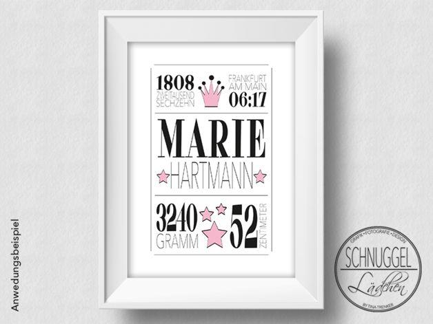 Weiteres - Geburtsbild personalisiert Geburt Geschenk Poster - ein Designerstück von Schnuggellaedchen bei DaWanda