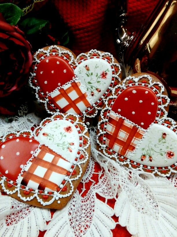 Valentine gingerbread decotayed cookies hearts