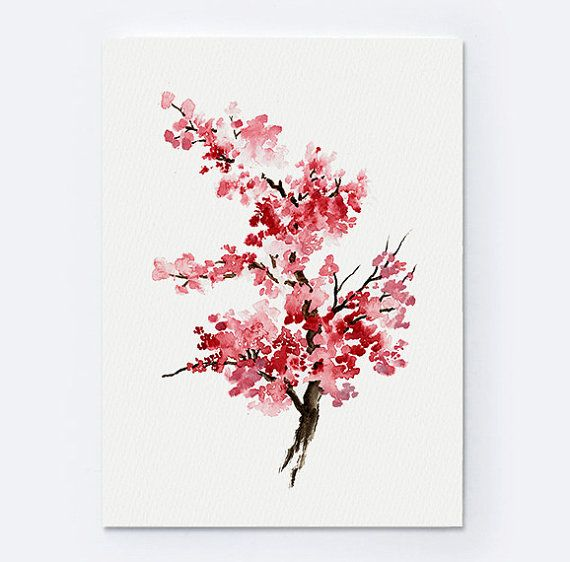 Cherry Blossom Flower Watercolor Painting. Pink Gifts For Her. Oriental Art Sakura Giclee Fine Art Print. Flower Girl Decoration. Cherry Blossoms Tree Illustration.  Type of paper: Prints up to (42x29,7cm) 11x16 inch size are printed on Archival Acid Free 270g/m2 White Watercolor Fine Art Paper and retains the look of original painting. Larger prints are printed on 200g/m2 White Semi-Glossy Poster Paper.  Colors: Archival high-quality 10-cartridge Canon Lucia Pigment Inks with a droplet…