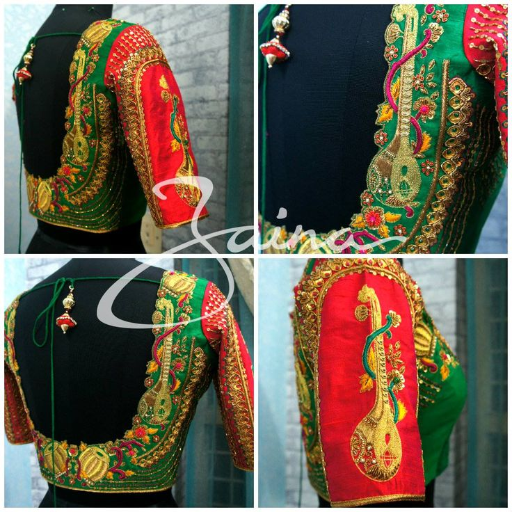 Beautiful red and green combination designer blouse with veena design hand embroidery work from Zaona. 17 July 2017