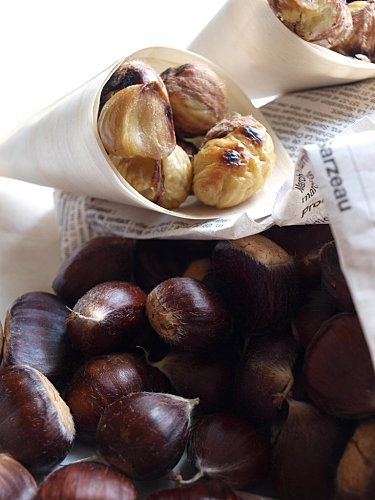 hot, roasted chestnuts . . reminds me of childhood when we roasted them in tin cans on an open fire; I remember buying them from street vendors in Paris, warming my cold hands as I walked along the banks of the Seine on a frosty January afternoon . .