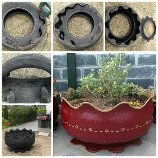 Tire to plant holder