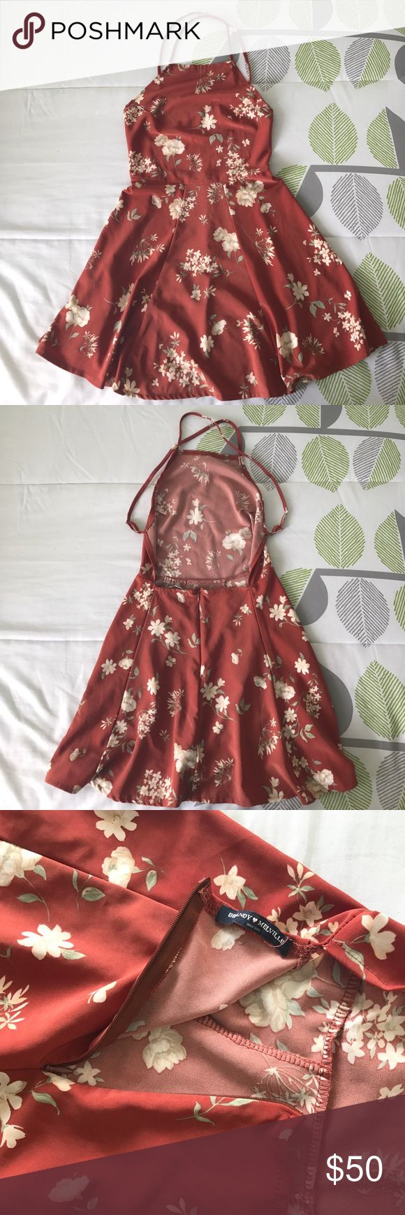 Brandy Melville Kirsten Dress Floral Brandy Melville Kirsten Dress. One Size but would fit an XS or Small the best. This dress is so cute but it's too short on me, I'm 5'8 for reference. There's a zipper in the back, no flaws. Feel free to ask questions! My price is pretty firm but feel free to make an offer Brandy Melville Dresses Backless