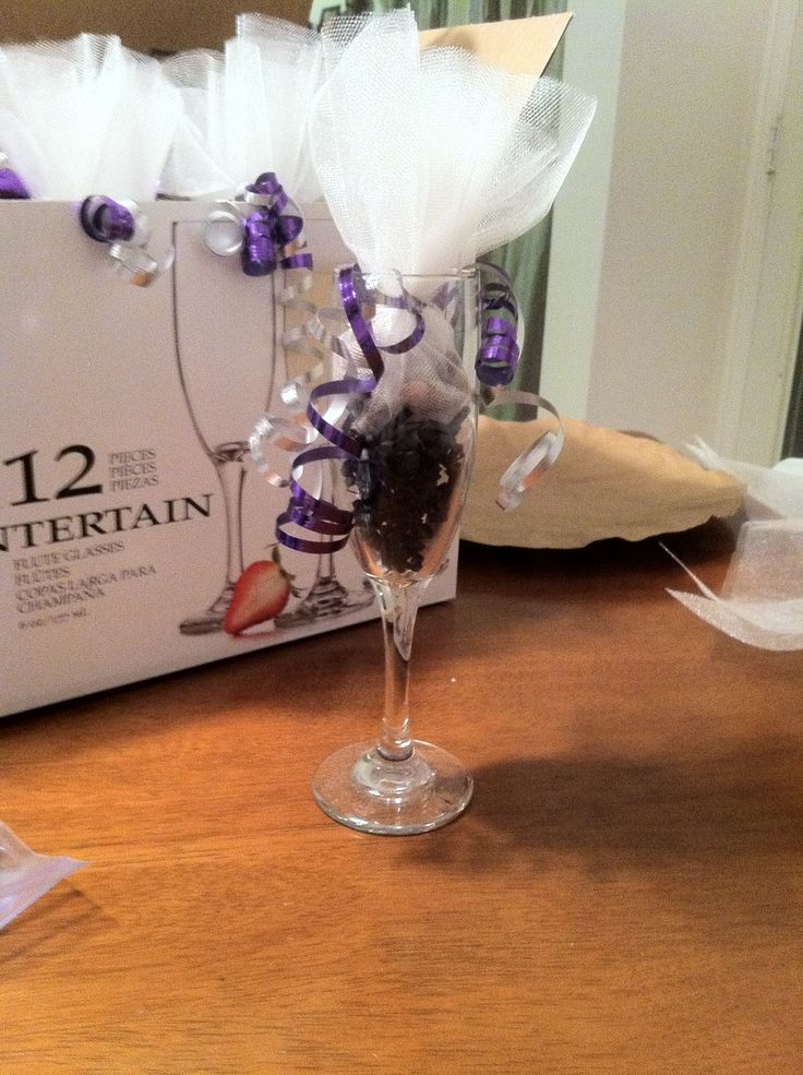 Champagne flute with crinkled paper(black), tulle wrapped ...