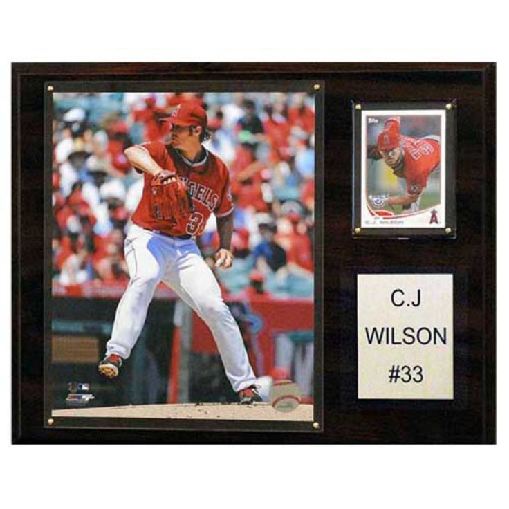 C and I Collectables MLB 15W x 12H in. C.J. Wilson Los Angeles Angels Player Plaque - 1215CJWIL