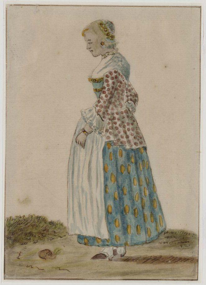 Zaanstreek. Jonge Zaanse vrouw in klederdracht met fraaie kap. 18e eeuw. Zaans Archief #NoordHolland #Zaanstreek