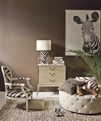 Zebra Stripes + Cheetah Spots  Use animal prints the way they appear in the wild: surrounded by natural colors, such as taupe and brown.