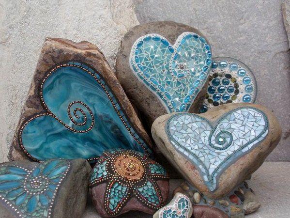 mosaik basteln anleitung garten gestalten liebe blau