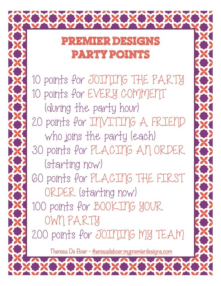 Hosting a Facebook Premier Designs Party?  Here is a Party Points outline!