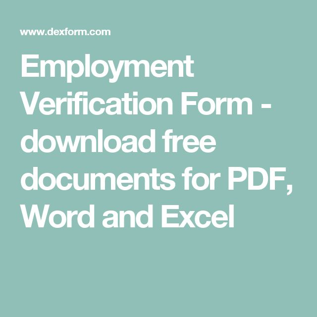 Employment Verification Form - download free documents for PDF, Word and Excel