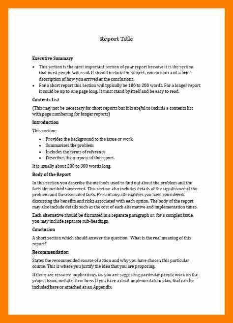 short business report template