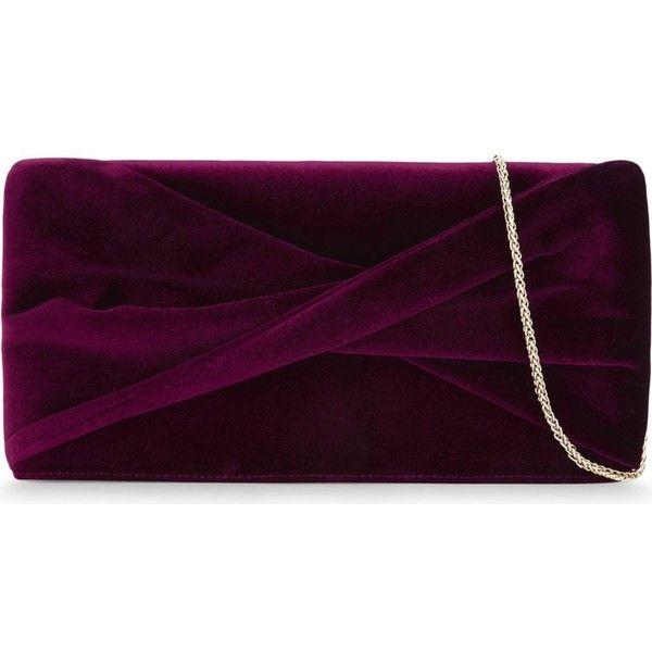REISS Beau velvet knot clutch (£135) ❤ liked on Polyvore featuring bags, handbags, clutches, velvet clutches, chain purse, purple purse, zipper handbag and reiss