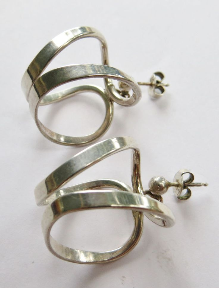 VTG Modernist Anna Greta Eker Fredrikstad Norway Sterling Silver Hoop Earrings #AnnaGretaEker