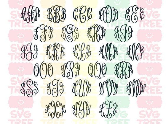 Master Circle Script Monogram Alphabet SVG Files DXF by SVGTREE