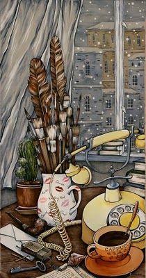 Maria Kamenskaya...love his works...: Silk Paintings, Illustrations Life, Coff Art, Artists Work, Artists Tools, Maria Kaminskaya, Maria Kamenskaya Lov, Coffee Art, Fabrics Art