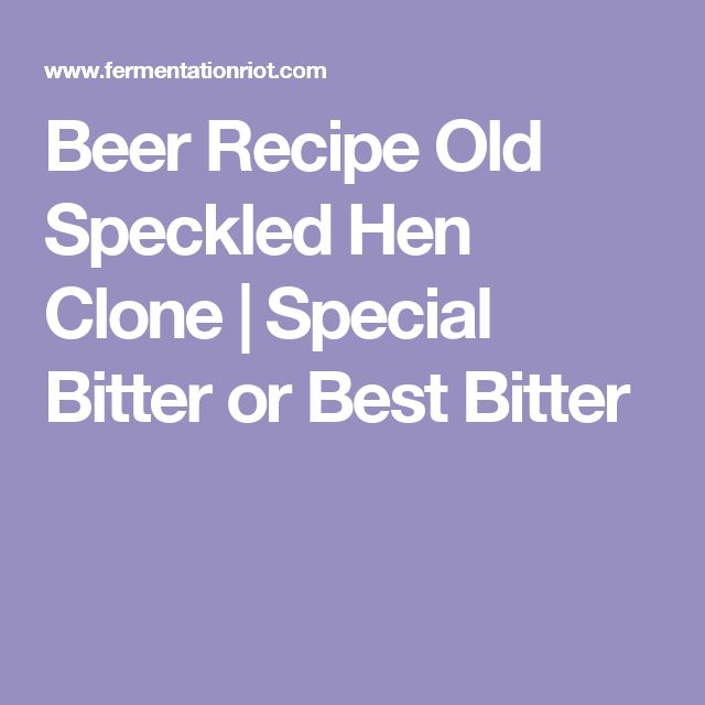 Beer Recipe Old Speckled Hen Clone |  Special Bitter or Best Bitter
