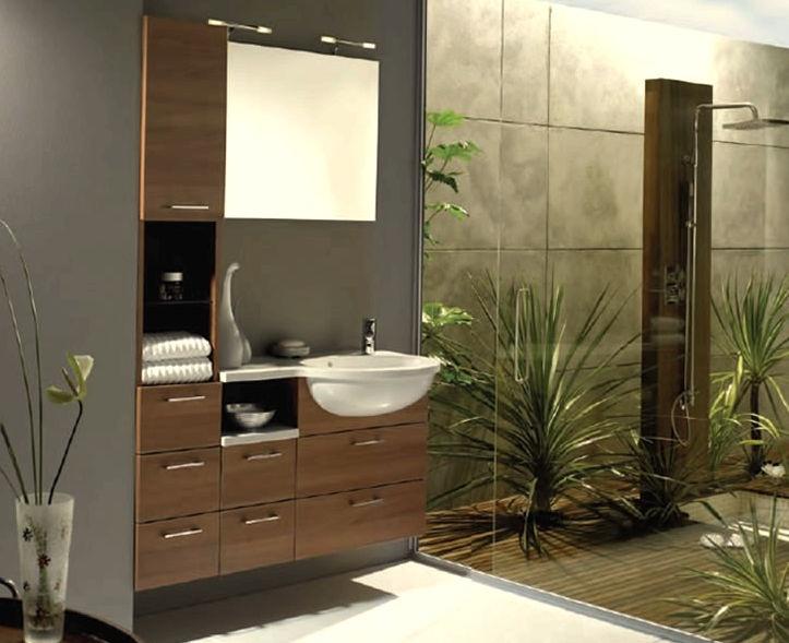 Dise o de ba o moderno decorado con algunas plantas for Muebles bano diseno moderno