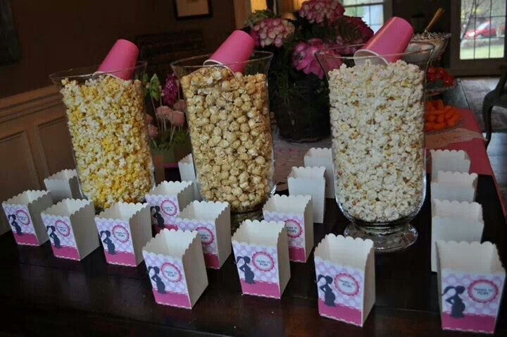 Baby shower idea...Popcorn and bags that say ready to pop