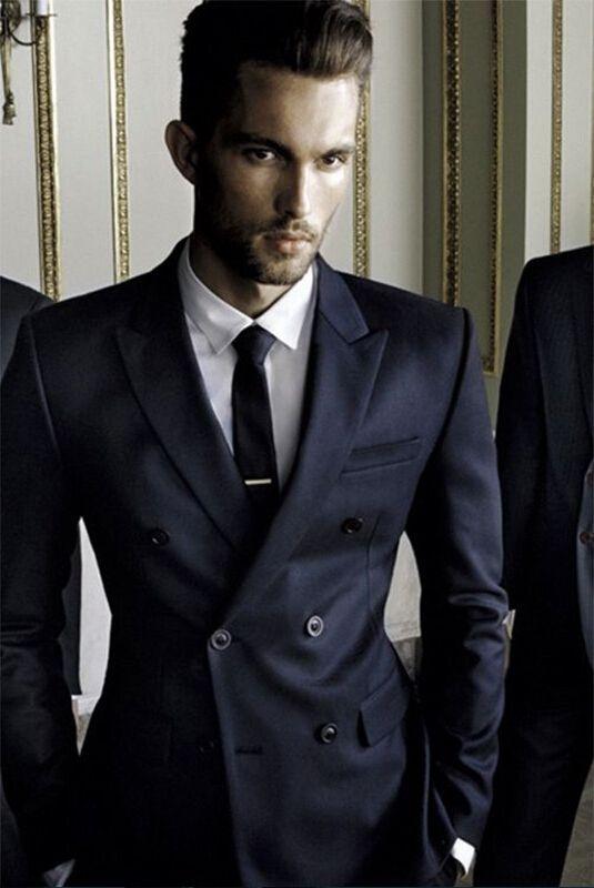 2018 New Fashion Style Navy Blue Groom Tuxedos Groomsmen Men s Wedding Prom  Suits Bridegroom Free Shipping (Jacket+Pants) 21fad51fd61e