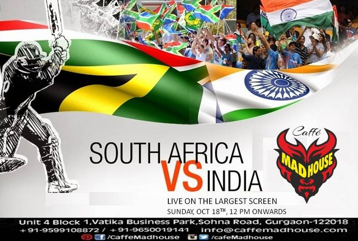 Watch India Vs. South Africa Cricket 3rd ODI Live on one of the largest screen at Gurgaon in Caffe Mad House today. Cheer for your team as you can opt for Lavish Buffet Lunch, Special Navratri Food and refreshing beverages...  #Livecricket #liveodi #buffetlunch #livematch