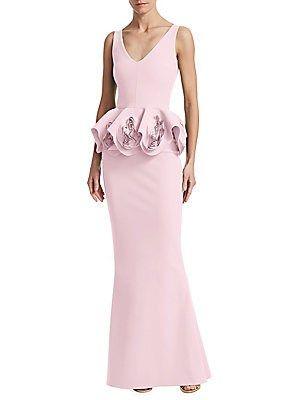 ad1be04316e7e Chiara Boni La Petite Robe Rose Peplum Gown | Caroline | Peplum gown ...