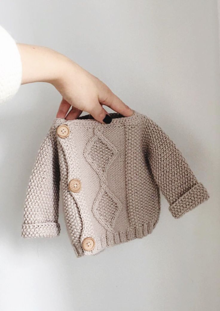 5a1126cac7de Hand Knitted Newborn Baby Cardigan Sweater