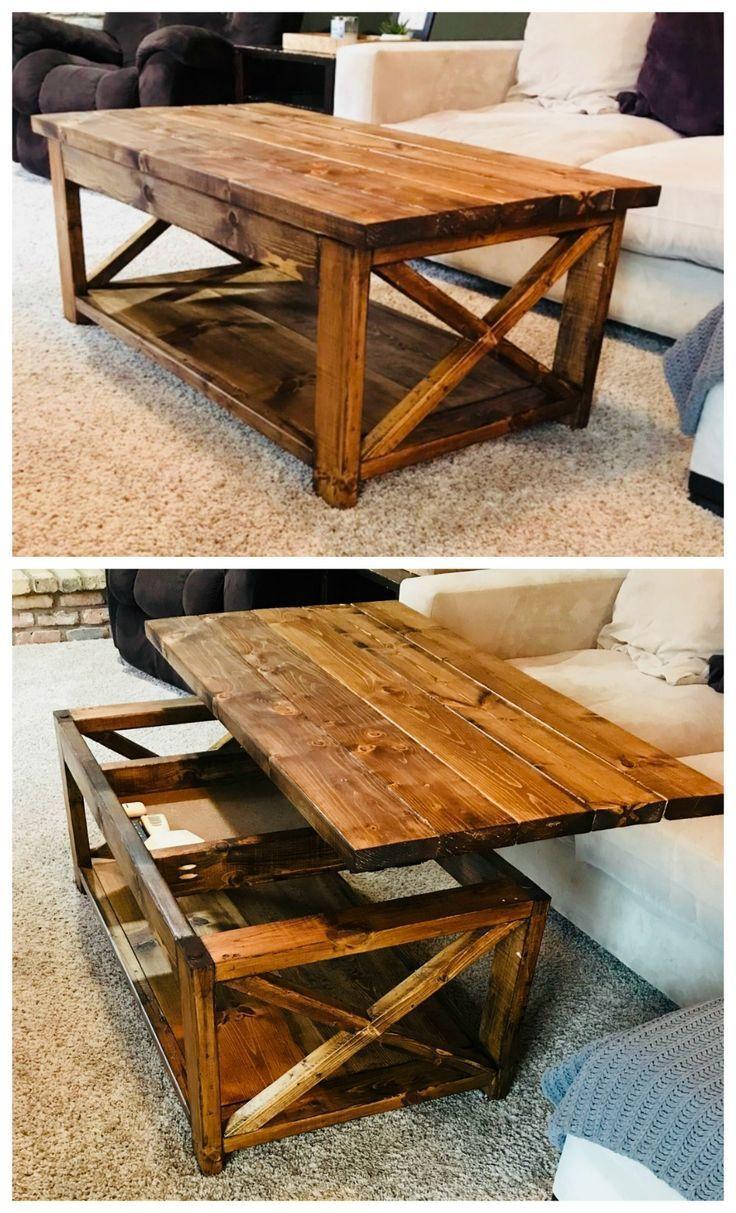rustikaler diy Couchtisch zieht in Tisch mit verstecktem Ablagefach ana-white.com … #WoodWorking