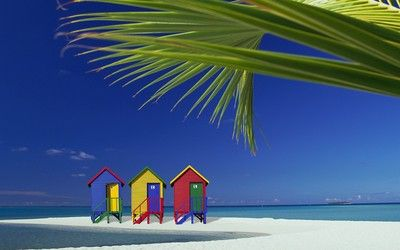Colorful beach houses wallpaper