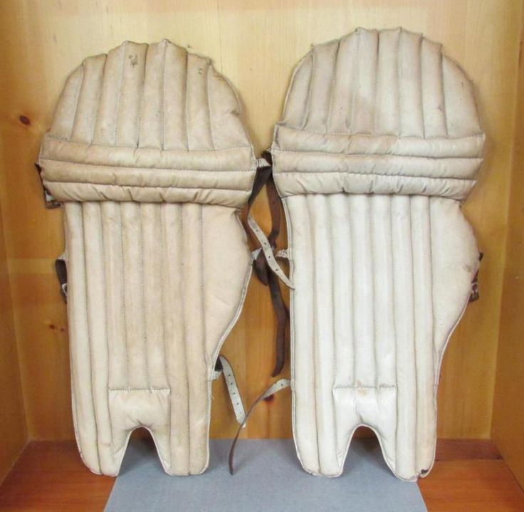 Vintage 1930S Leather Cricket Batsman Padded Leg Guards Pads England Antique