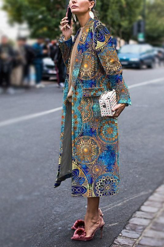 Fashion Floral Printed Long Sleeve Coat