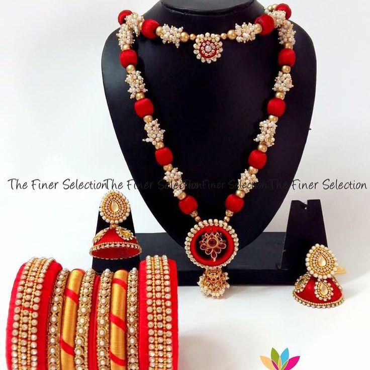 Handmade silk thread necklace set