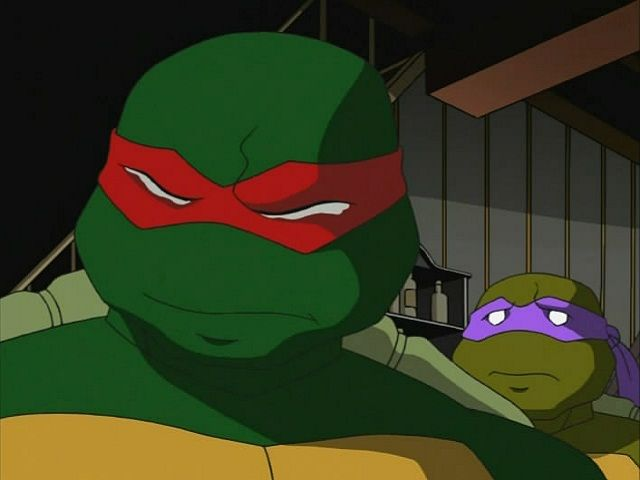 Raph trying not to cry over injured Leo. I found this part incredibly touching. Raph is kinda the tough, don't mess with my family kind of guy. And he NEVER crys. However when he sees Leo dying he's not sure he can handle it. This part and episode were one of the best