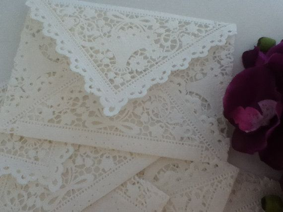 I LOVE MUST DO SOMETHING WITH THESE!!!!! 20 White Doily Lace Envelopes  Vintage by MyMemorableDesigns, $27.50
