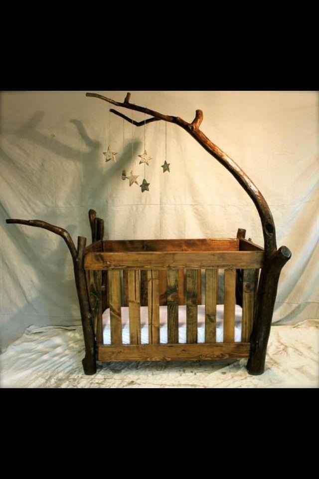 Wood crib made with driftwood. LOVE IT!