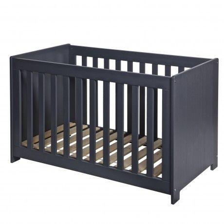 Lit bébé bois massif 60x120 gris acier