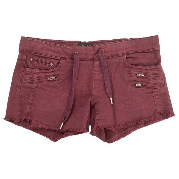 Pre-owned The Kooples Burgundy Cotton Shorts ($72) ❤ liked on Polyvore featuring shorts, burgundy, women clothing shorts, burgundy shorts, zipper shorts, the kooples, short cotton shorts and pocket shorts