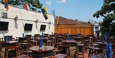 German Biergarten with authentic Bavarian food. Great for any event size, especially in the summer time. Roof-deck with view over the beer garden
