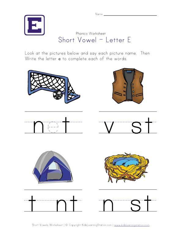 short vowel e worksheet and other phonics worksheets homeschool pinterest english. Black Bedroom Furniture Sets. Home Design Ideas