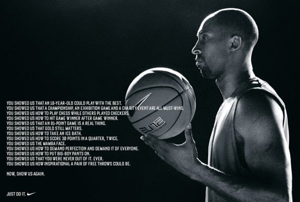 Brand: Nike 1 of 2 Communication objective: Knowledge- deepen/enrich the brand image Method: using Kobe Bryant as the forefront and using his journey through injuries to motivate others
