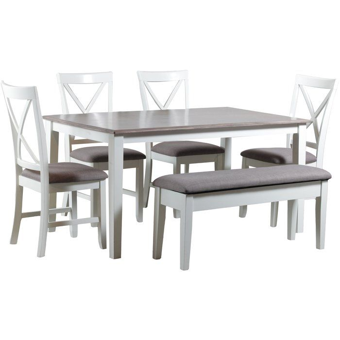 The Amaury 6 Piece Dining Set Is A Chic Dining Set That Comes With A Rectangular Table Four Chairs Kitchen Dining Sets Dining Room Sets Dining Set With Bench