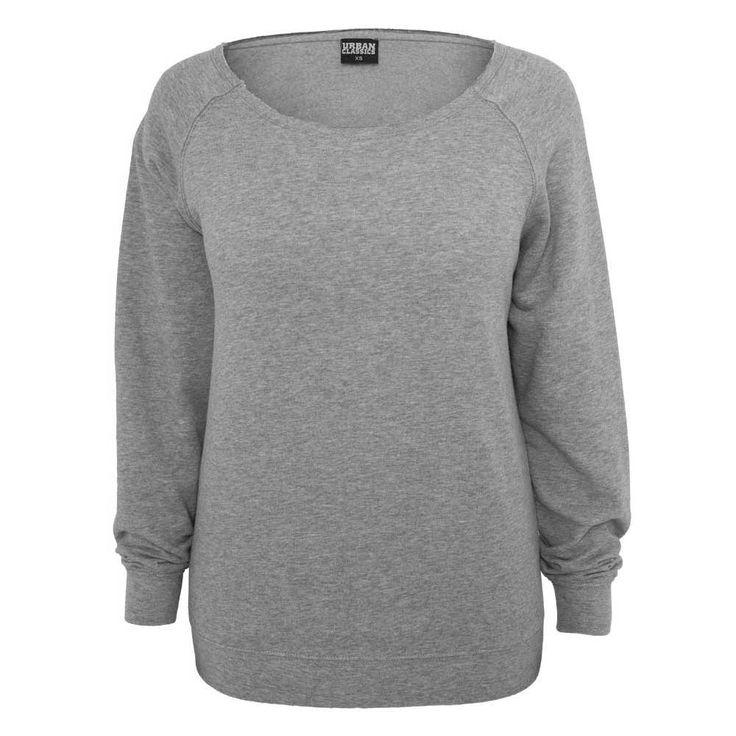Urban Classics. Een grijs dames sweatshirt met lange mouwen en een wijde hals. S = Lengte 51,5 cm M = Lengte 54 cm L = Lengte 56,5 cm XL = Lengte 59 cm XXL = Lengte 61,5 cm