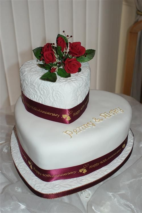 "40th Anniversary Cakes | 10"" heart shaped cakes the top cake has been embossed with a ..."