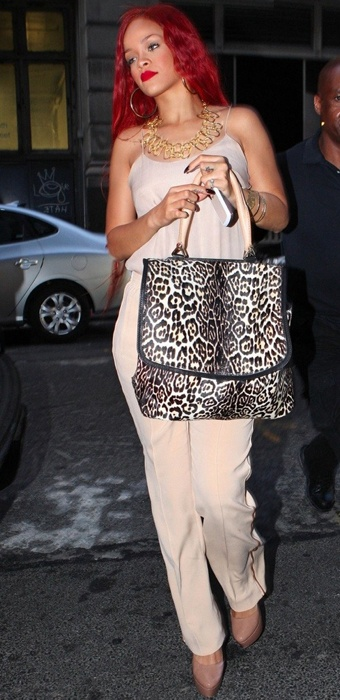 Rihanna with leopard bag