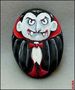 Hahd painted stone. Halloween Count Dracula by Alika-Rikki, via Flickr