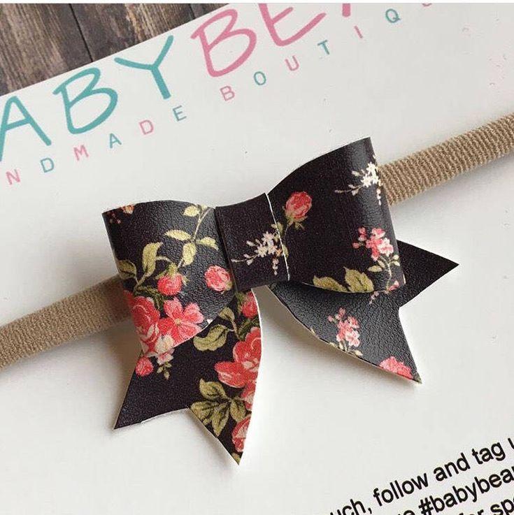 Dainty Bow, Faux Leather Hair Bow, Floral Bow, Baby Headband, Girls Bow, Newborn Bow by BabyBearHandmadeB on Etsy https://www.etsy.com/ca/listing/572265577/dainty-bow-faux-leather-hair-bow-floral