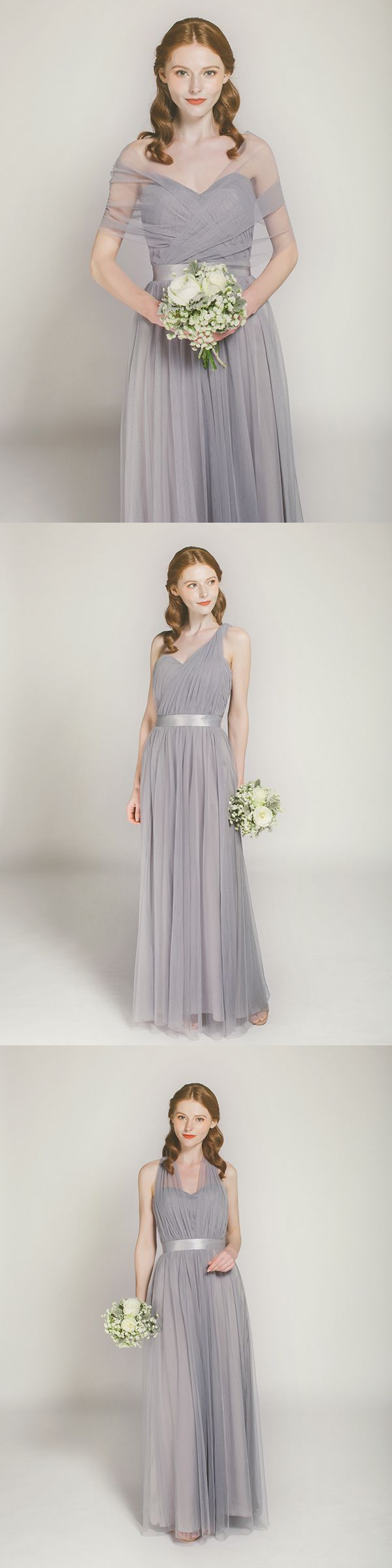 121 best bridesmaid dresses images on pinterest bridal parties convertible long tulle grey bridesmaid dress ombrellifo Gallery