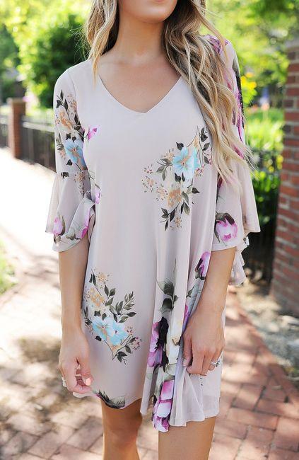 Beige Floral Flare Sleeve Dress