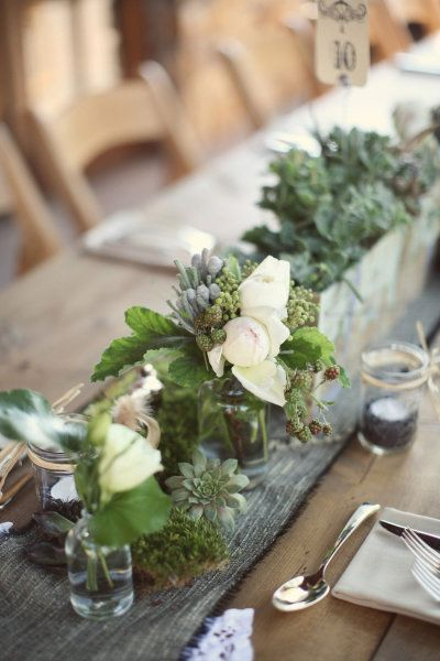 Natural - wood, succulents, glass - simple table decoration