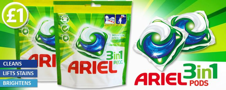 Grab your laundry essentials today! Arial 3-In-1 Pods clean, lift stains and brightens and are available today for only £1! www.poundshop.com/home-garden/household/laundry